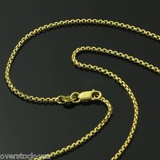 Solid 18K Yellow Gold Necklace 1.7MM Squared Rolo Link Chain Necklace 20INCH