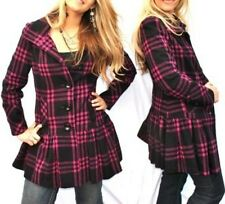 New Womens Black & Pink Plaid Wool Blend Skirted Coat Size Medium