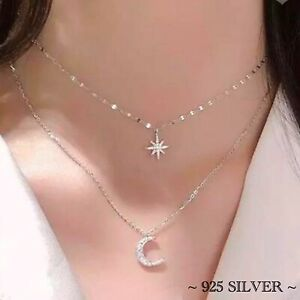 Star Moon Necklace 925 Sterling Silver Multilayer Choker Rhinestone Diamante UK