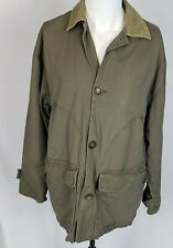 County Seat Men's Army Green Canvas Shirt Jacket Flannel Lined Corduroy Collar S