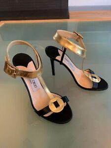 Jimmy Choo Ankle Strap Sandal Heels Gold/Black 35.5/5.5 Great Cond $795