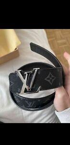 Louis Vuitton LV Initial Belt Monogram Leather for Men - Black Size 105