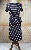 Diane Von Furstenberg Pink Striped Silk Short Sleeve Faux Wrap Dress 6