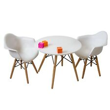 Set of White Eames Style Kids Table and Two Modern Armchairs