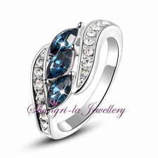 White Gold Plated Solitaire with Accents Sapphire Fashion Rings