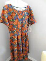 "Lularoe Size 2XL PLUS SIZE Floral  Print Flared Knit ""Amelia"" Dress NWT"