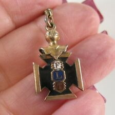 Antique 1800's Odd Fellows FLT Maltese Cross Enamel GF Watch Fob Charm Pendant