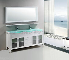 60 inch Double Sink Bathroom Vanity cabinet white with mirror & faucets 20white