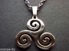Trisquel Triskelion espiral druida Colgante Collar Cadena De Acero Inoxidable 316L