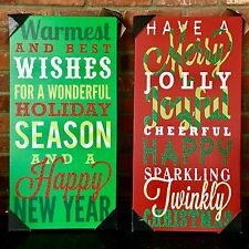 """$40. NEW 2-Pc Red+Green """"Merry Christmas+Happy New Year"""" Wall Decoration Artwork"""