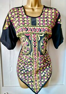 VINTAGE Indian Bhanjara mirrored embroidered colour BOHO festival hippy top S/M