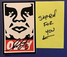 Rare SHEPARD FAIREY Autograph...SIGNED OBEY STICKER and Handwritten Note