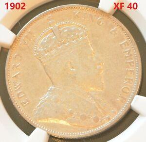 1902 China Hong Kong Edward VII 50 Cent Silver Coin NGC XF 40