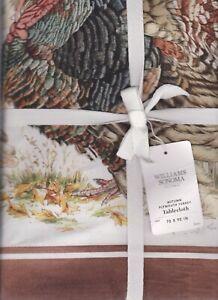 williams sonoma Autumn Plymouth Turkey tablecloth 70x90 watercolor pottery barn
