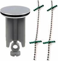 Waschbeckenstöpsel Abfluss-Stöpsel Silber 40mm mit Edelstahl Haarfänger-Kette