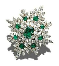 Green Emerald & White CZ Handmade 925 Sterling Silver Solid Cluster Brooch Pin