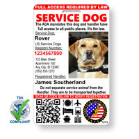 Custom Service Dog ID with Holographic QR Code & Free Registration - Portrait