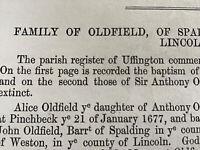 LINCOLNSHIRE - UFFINGTON SPALDING Genealogy - OLDFIELD Family - Parish Reg Info