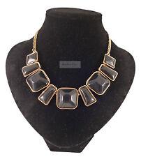 Vintage Gold Tribal Geometric Black Gem Statement Necklace
