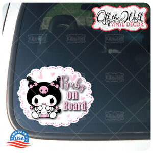 "Baby Kuromi ""BABY ON BOARD"" Vinyl Car Decal Sticker"