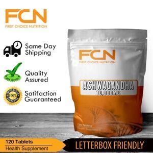 Ashwagandha 120 Tablets 10,000mg /  High Strength Formula / 2 month+ Supply