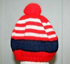 Vintage 60's 70's Beanie Pom Pom Beret Hat Tam Knit Red Stripe Cap Golf Winter