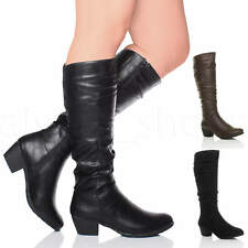 WOMENS LADIES CUBAN MID HEEL ZIP RUCHED SLIM CALF COWBOY RIDING KNEE BOOTS SIZE
