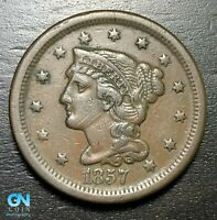 1857 Braided Hair Large Cent --  MAKE US AN OFFER!  #B6213