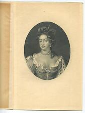 ANTIQUE CAMEO PORTRAIT QUEEN ANNE PERALS CROWN JEWELS BUXOM ENGRAVING OLD PRINT