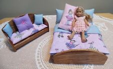 OAK BED/SETTEE & Bedding  made for *American Girl Mini Doll* &  5-8 Inch Dolls