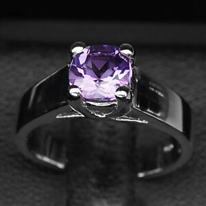 AMETHYST RICH PURPLE ANTIQUE 1 CT. 925 STERLING SILVER RING SIZE 5 WOMEN GIFT