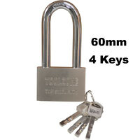 QUALITY Hardened Steel Chrome LONG SHACKLE 60MM PADLOCK High Security + 4 Keys
