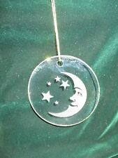 Hand Crafted Etched Flat Round Glass Ornament  Moon and Stars