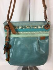 Fossil Key-Per Turquoise/Brown Leather Trims Floral Coated Canvas,Crossbody Bag