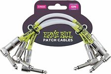 """Ernie Ball 6"""" Instrument Patch Cable Angled Both Ends P06051, White, Three Pack"""