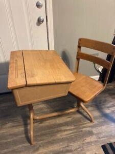 Industrial Midcentury Children's School Desk w/swivel Chair