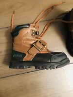 Polo Ralph Lauren Black Brown Leather Boots Toddlers Boys Girls Size 5