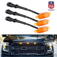 Mini Bumper Grille Hood Amber LED Lights For 2015-17 Ford F150 Raptor Style 3PCS