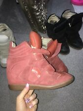 Isabel Marant Etoile Beckett Wedge Sneaker Trainers Boots 38 Suede Leather