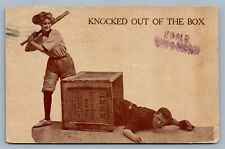 BASEBALL KNOCKED OUT OF THE BOX ANTIQUE POSTCARD