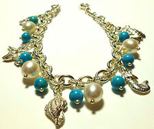 PACKED MILOR ITALY STERLING SILVER PEARL TURQUOISE SEA OCEAN LIFE CHARM BRACELET
