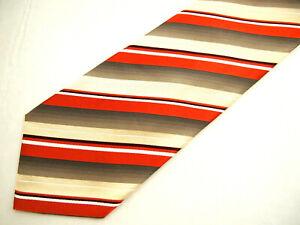"""Banana Republic Mens Necktie Tie Orange Brown Ivory Striped 57"""""""