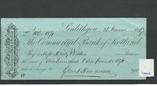 wbc. - CHEQUE - CH1001 - USED -1867/68- COMMERCIAL BANK of SCOTLAND, LINLITHGOW