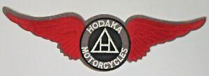 """very large HODAKA MOTORCYCLE red WINGS 12.5"""" jacket back patch UNUSED"""