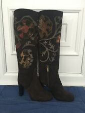 Brown Suede Embroidered Knee High Boots UK Size 5 By Onda Verde
