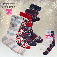 Ladies Cosy Chunky Knit Bed Slipper Socks Anti Non Slip Grippers Pom Pom S-L