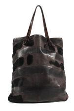 Fendi Brown Calf Hair Leather Tote Handbag Size Medium