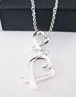 Ypsilonkette Herzkette Halskette Herz Anhänger Damen-Kette Silber Love Geschenk