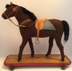 "ANTIQUE HORSE PULL TOY HORSE HAIR FUR 17"" X 18"" FOLK ART PRIMITIVE TOY ON WHEELS"