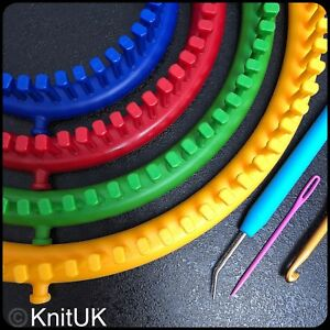 KnitUK Round Knitting Looms Set of 4: with pegs all-fitted. Medium Gauge
